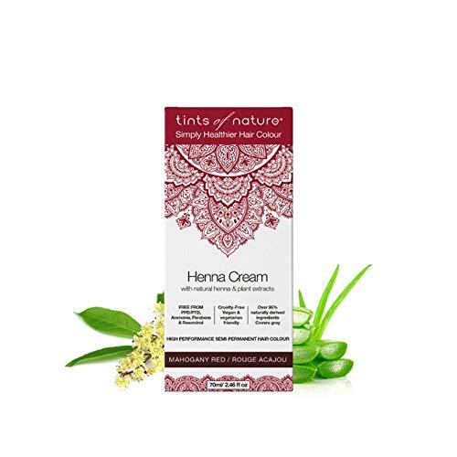 Tints of Nature, Semi-Permanent Henna Cream Hair Colour - Mahogany, 95% Natural, Vegan, and Cruelty Free, Red, Single