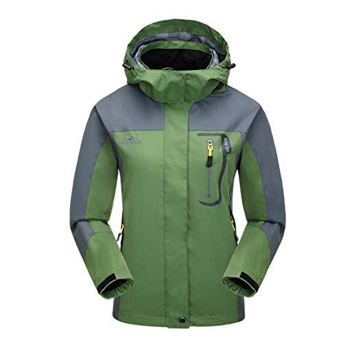 Damen wasserdichte Jacke Warm Winddicht Regenjacke Softshell Outdoorjacke Wandern Camping Bergsteigen Skifahren Jacken mit Kapuze (XXL, Grün 01)
