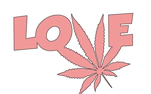 "Calcomanía de vinilo con texto en inglés ""I Love Weed"" HGC2078.03, 14 cm de ancho x 9,7 cm de alto, color rosa"
