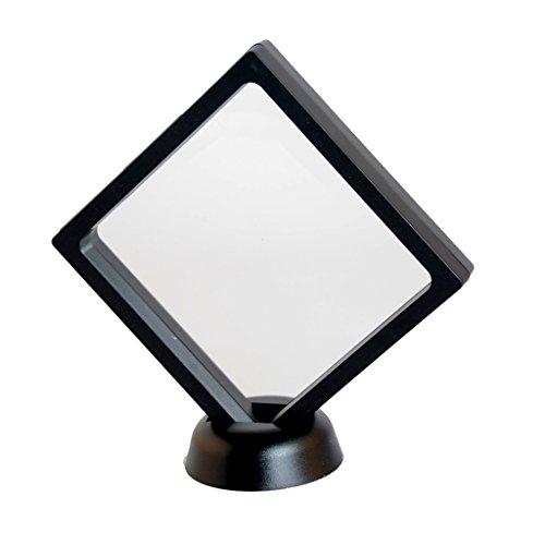 dailymall Caso cuadrado transparente 3D flotante de la caja del sostenedor de la exhibición de la moneda con el soporte - 110 x 110 x 18 mm