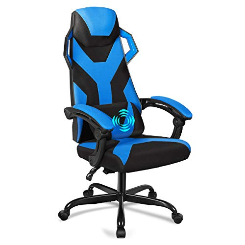Giantex Massage Gaming Chair, Large Size Racing Chair with USB Lumbar Pillow, Armrest, Adjustable Backrest, Headrest, Widen Thicken Seat, High Back Office Racing Chairs (Blue) blue chair gaming
