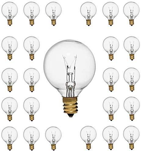 SanBon Pack de 25 bombillas G40 de tungsteno, transparentes, 7 W, para casquillo E12 y C7, bombillas transparentes para balcón, porche, fiesta, decoración