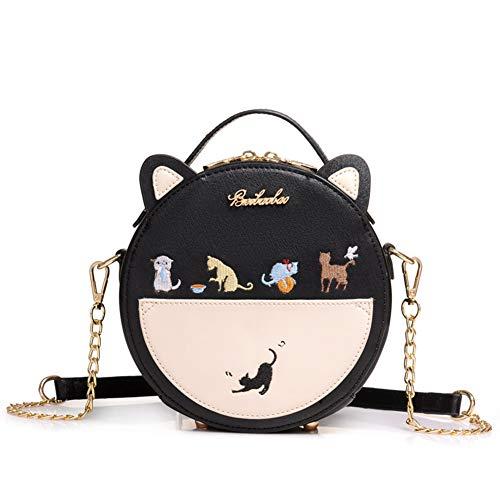 FAIRYSAN Cute Cat Ear Design Leather Personality Animal Shoulder Mini Messenger Cross Body Bag (Black)