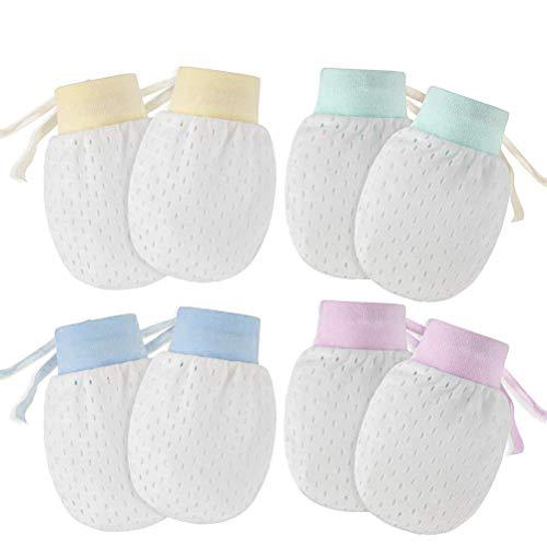 Kikier 4 paar ademende baby mesh handschoenen, anti-krabben baby handschoenen pasgeboren bescherming gezicht Scratch wanten met verstelbare trekkoord