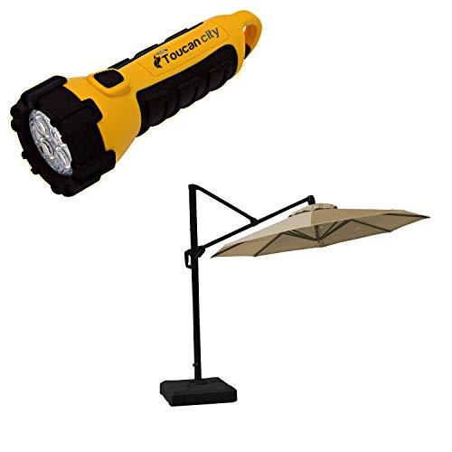 Toucan City LED Flashlight and RST Brands 10 ft. Aluminum Round Tilt Patio Umbrella in Heather Beige OP-MKT10R-MO-HBG-K