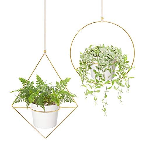 Mkono Boho Hanging Planter, Set of 2 Metal Plant Hanger with Plastic Pots, Modern Mid Century Flower Pot Plant Holder in Diamond and Circle Shape, Fits 6 Inch Planter (Plastic Pots Included), Gold