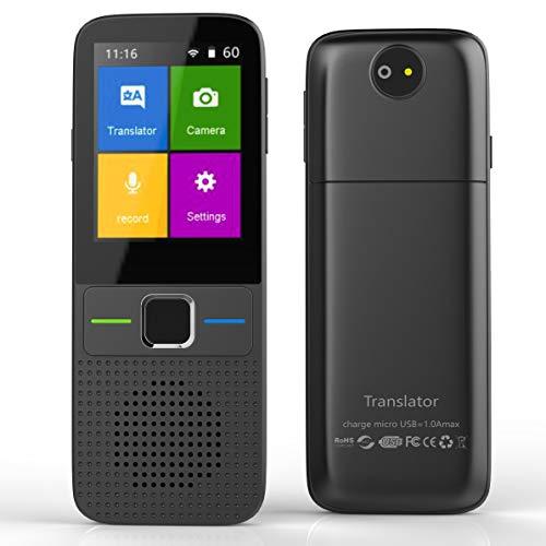 Instant Language Translator Device, Voice Smart Pocket Translator Device 138 Languages Two Way Translator Travel WiFi/Offline 2.4 Inch Touch Screen Camera Translation-Back