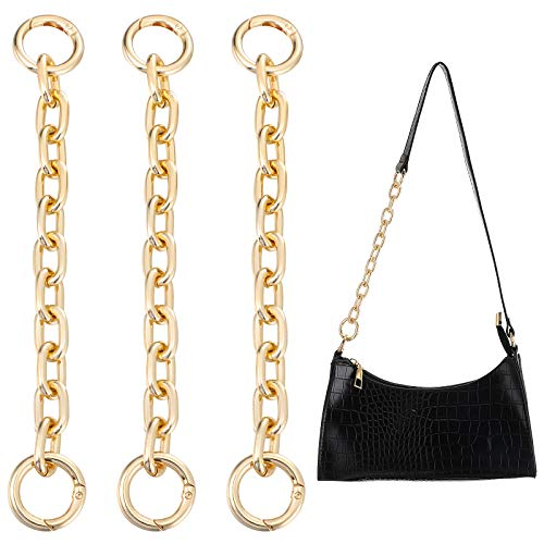 3 Pieces 7.9 Inch Length Aluminum Metal Bag Extender Chain, Handbag Shoulder Strap Extender Gold Bag Strap Charms for Body Purse Bag Shoulder Strap Extender Supplies