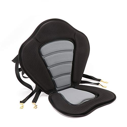 Nonbrand Deluxe Padded Kayak Seat Fishing Boat Seat Adjustable Boat Seat Cushioned High Back Comfortable Backrest Support with Storage Bag