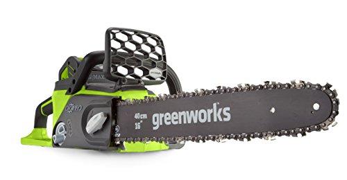 Greenworks Tronçonneuse à batterie GD40CS40 (Li-Ion 40V 40cm longueur de sabre 180ml volume du réservoir d'huile moteur puissant sans balais sans batterie ni chargeur)