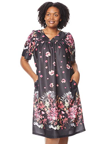 AmeriMark Women's Lounger House Dress - Short Sleeve Patio Dress w/Side Pockets Evening Floral Border 3X