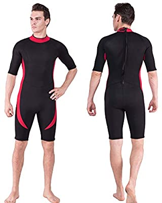 DEHAI Men Women's Thermal Wetsuits Full Suit Sleeves 3mm Neoprene Youth Adult's Diving Swimming Snorkeling Surfing Scuba Jumpsuit Warm Swimwear (3mm Shorty Men Wetsuit - Red, M)