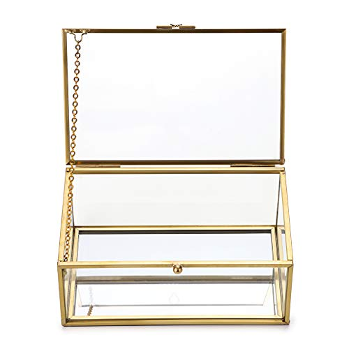 Sumnacon Joyero rectangular con tapa de cristal, diseño vintage dorado, organizador para joyería, anillos y pulseras, decoración para casa (pequeño)