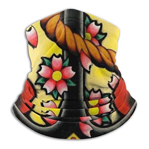 N / A Ancla Náutica con Flor Rosa Elástica Moisture Wickin Pañuelo De Cabeza Protección UV Polainas De Cuello Impreso Sombreros Secado Rápido Calentador De Cuello para Mujer Hombre