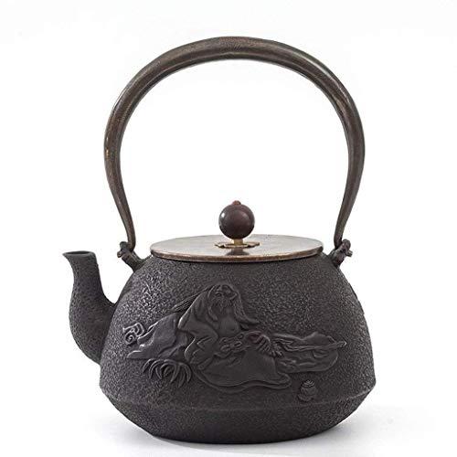Teekanne Keramik 1,2 l C Gusseisen Teekanne Teekessel mit Edelstahldeckel für Herd sicher mit beschichteter Holzverpackung innen beschichtet