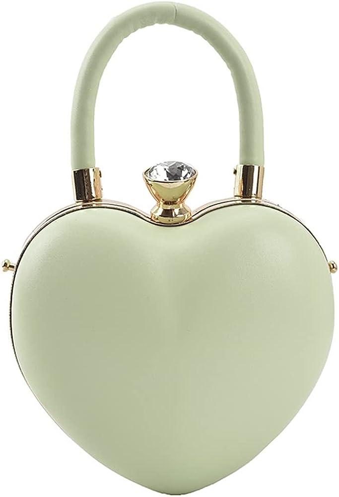 Rejolly Heart Shaped Purse for Women Girls Top Handle Handbag PU Leather Evening Clutch Small Shoulder Bag