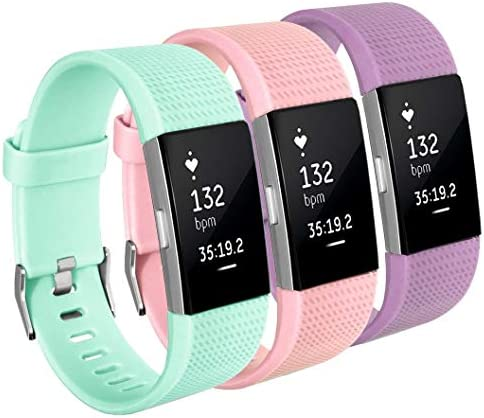 3 Pack FitBit Charge 2 Bands Turquoise Pink Sand Lavender Silicone Adjustable Strap with Metal product image