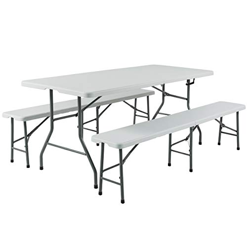 Best Choice Products 3-Piece 6ft Portable Folding Weather-Resistant Resin Table and Bench Set w/Carrying Handles and Rubber Foot Caps for Picnic, Home, and Commercial Use, White