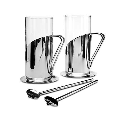 Kilo C75 Set mit 2 Latte, Kaffee-und Teegläsern Löffel-Strohhalmen und Edelstahl-Untersetzern, glas
