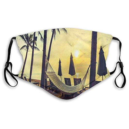 BZKIER Windproof Activated Carbon mask,Photo of Empty Hammock On The Beach at Sunrise Time with Coconut Palm Tree Exotic Print,Facial Decorations for Unisex S (with 10 Filters)