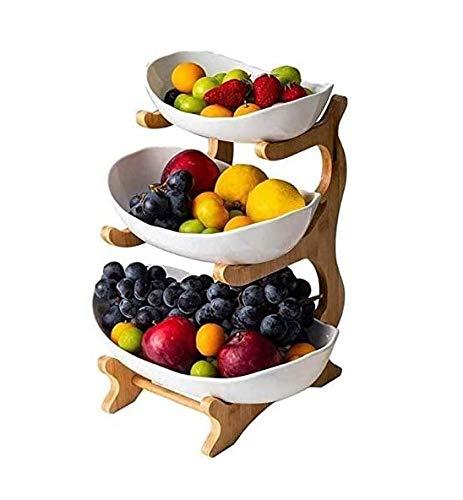 Cratone 3PCS Obst Etagere 3 Etagen Porzellan 3 Stöckig Obstschale mit Bambus ständer, Snack Bonbon Platte Obstteller Wohnzimmer Deko