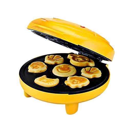 XCXDX Mini-Kuchenmaschine Vollautomatische Waffeleisen Mit 7 Form Auf Einmal, Antihaft-Platten (gelb)