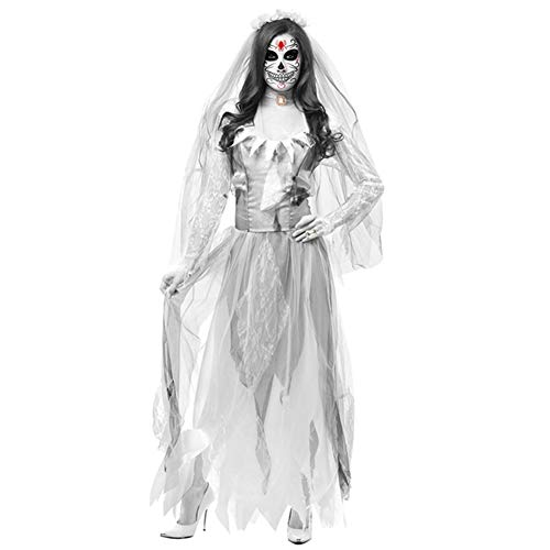 Ghost Bride Halloween Slim Lace Cape Kleid, Cosplay Halloween Kostüm Horror Ghost Dead Corpse Zombie Brautkleid,No2,L