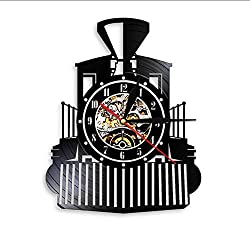 ASDVB Steam Locomotive Train Wall Clock Steam Engine Vinyl Record Wall Clock Train Locomotive Watch Home Decor Train Enthusiast Gift