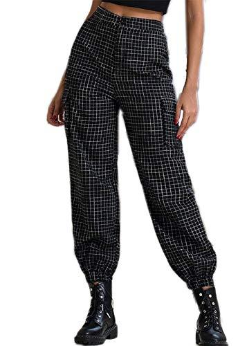 Makalon Cargo broek, geruit, hoge taille, slim, damesbroek, grote maat, damesjeans, vrijetijdsbroek, klassiek (zwart, M)