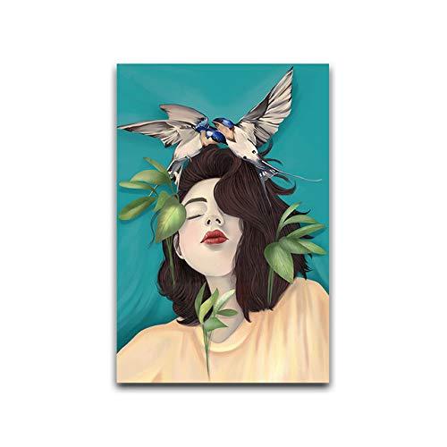 Bewölktes Vogelblatt Girly abstrakte Wandkunst-Plakate und druckt Leinwand-Malerei moderne Hauptdekoration 20x30cm