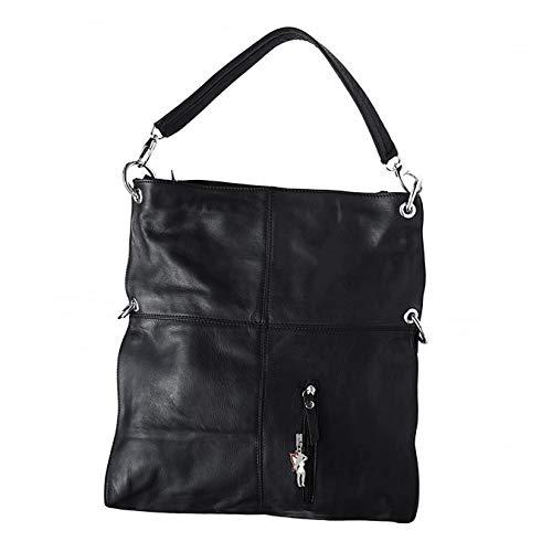 Florence Hobo Bag Echt-Leder Tasche Damen Umhängetasche Schultertasche Beuteltasche schwarz 37x6x40 inklusive Feenanhänger D1OTF102S Leder Tasche von Florence für die Frau