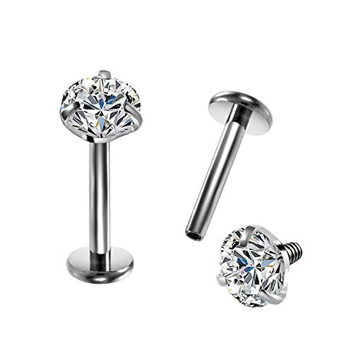 COCHARM 16G G23 Titanium Clear CZ Labret Monroe Lip Ring Studs Cartilage Helix Tragus Earring Nose Studs Piercing Jewelry 4mm
