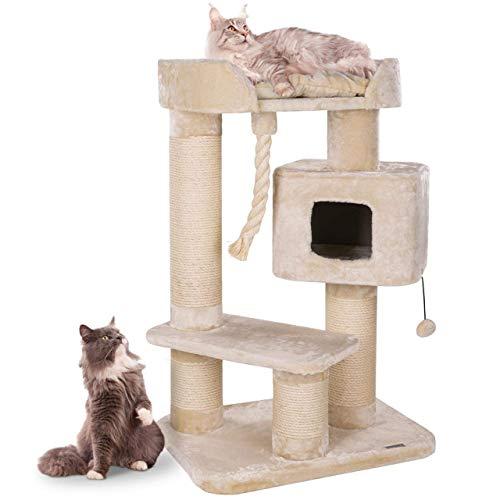 Happypet massiver Premium Kratzbaum stabil für schwere Katzen Maine Coon | 15 cm Dicke Sisalstämme | 600g Plüsch | geprüfte E1 Holzplatten Spiel-Tau | Höhe 118 cm | BEIGE- Creme