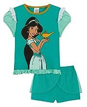 Disney Pijama Niña Verano, Pijamas Niñas Cortos de Ariel, Rapunzel, Jasmine y Bella, Ropa Niña Algodón Edad 2-12 años (Verde, 5-6 años)