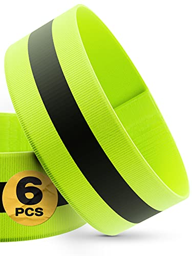 Prowiste Reflektorband für Joggen, Fahrrad - 6er Set - Stark Sichtbar - Elastisch mit Klettverschluss