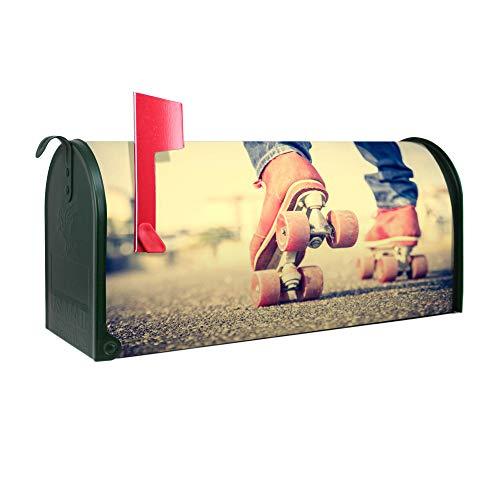 BANJADO US Mailbox | Amerikanischer Briefkasten 51x22x17cm | Letterbox Stahl Grün | mit Motiv Rollschuhe
