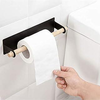 LAIYYI självhäftande pappersrullehållare för köket, för baksidan, en handdukshållare, för upphängning, för skåp, badrum svart
