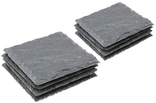 COM-FOUR® 8x onderzetters van natuurlijke leisteen met antislip rubberen voetjes, ca. 10 x 10 cm