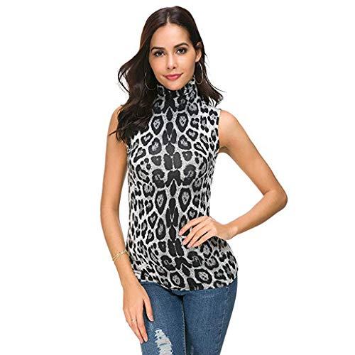 Sulifor Blusa sin Mangas con Cuello Alto,Top Estampado para Mujer,Camisa Elegante y Casual para Mujer