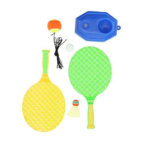 Shanrya Kit de Entrenamiento de Tenis, Raqueta de Tenis para niños, Kit de Entrenamiento de Pelota de Raqueta de Tenis portátil con Cuerda/Tenis de Mesa/bádminton para Exteriores para práctica