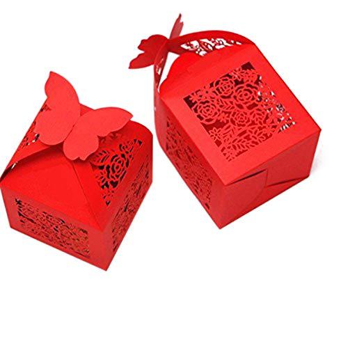 ULTNICE 50 cajas de regalo con diseño de rosa, caja de bombones con cinta para bodas, cumpleaños, compromiso, color rojo