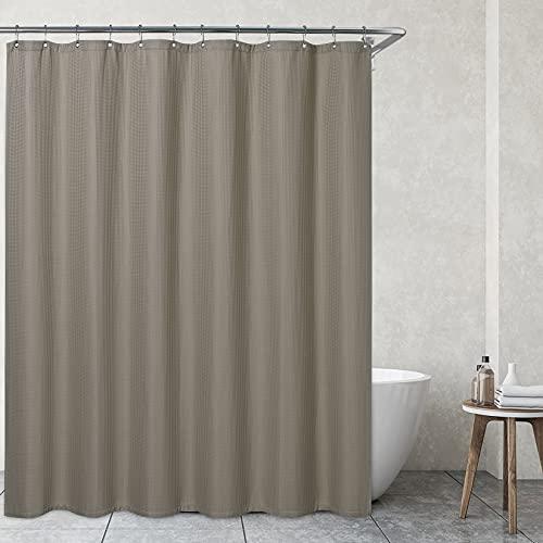 CAROMIO Duschvorhänge Textil Waschbar 180x200 Wasserabweisend Duschvorhang mit Waffelmuster & Rostfreien Metallösen Badezimmer Vorhang für Badewanne & Dusche Taupe
