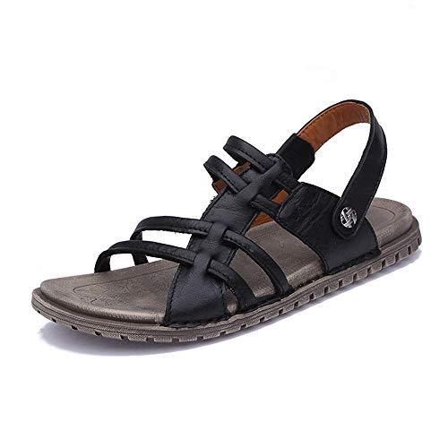 Zzyff` Confortevole Nuovi Sandali di Cuoio per Il Tempo Libero per Gli Uomini Sandali Morbidi in Punta di Piedi Tinta Unita Pantofole Scarpe A Doppio Uso Scarpe da Spiaggia All'aperto Durevole