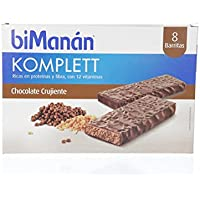 biManán Komplett -  Barritas Crujientes Sustitutivas, Chocolate Crujiente, 8 Barritas de 35 g