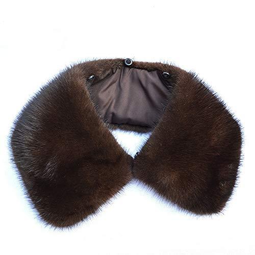 Solapa de Piel auténtica para Hombre Cuello de visón - Desmontable Cuello de Piel Artificial - Negro, marrón Men's Coat Fur Collar - Brown