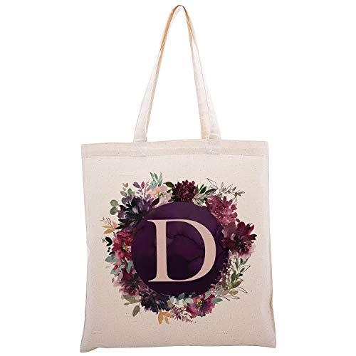 Zexpa Apparel Bolsa con inicial floral para evento de despedida de soltera, fiesta de bienvenida de bebé, dama de honor Dsgn #3