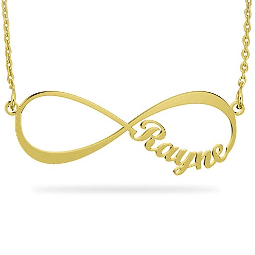 Personalized Gold Infinity Necklace with Name 18K Gold Plated Sterling Silver Eternal Jewelry with 2 Names