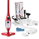 H2O X5 Steam Mop - Kills 99.9% of Bacteria Without Cleaning Chemicals (Red, Super)