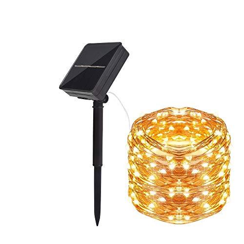 SUPERKIT Solar Lichterkette Aussen,24M 240 LED Lichterkette Außen 8 Modi Wasserdichte Solare Kupferdraht für Garten, Balkon, Innenhof, Bäume, Hochzeit, Party(Warmweiß)