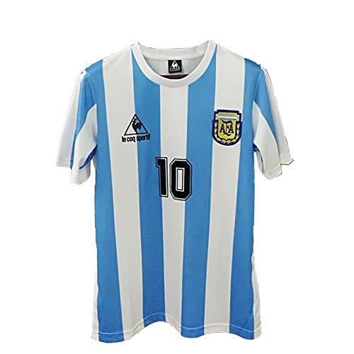 Argentina 1986 World Cup Maradona 10 Retro Football Soccer T-Shirt Jersey Retro Mexico Bye Gods Left Hand M